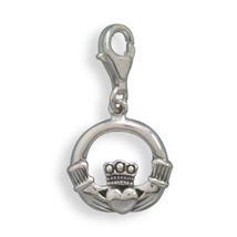 Sterling Silver Claddagh Design Charm with Lobster Clasp - $32.95
