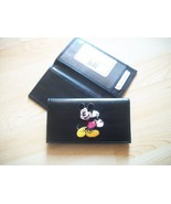 Mickey Mouse Black Leather Checkbook Cover Center Design Free Shipping - $20.00