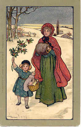 Christmas Cheer artist Ethel Parkinson 1908 Post Card