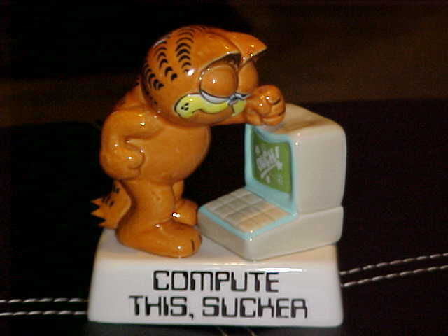 Enesco Garfield Compute This Sucker Ceramic Figurine From 1981