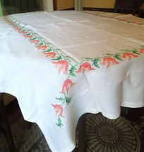"""Vintage Embroidered Linen Tablecloth with Tangerine Tulips 65""""x50""""#22043 - $34.99"""