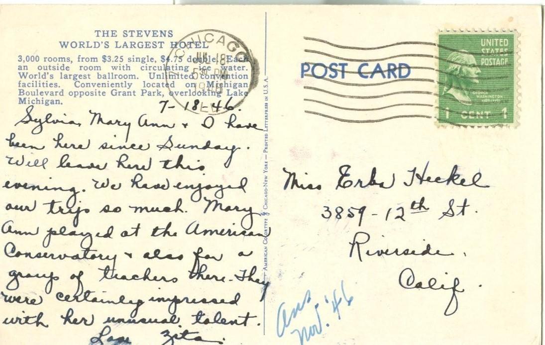 Stevens Hotel, Chicago, 1945 used Postcard