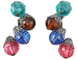Napier BOOK PIECE Faceted Bead Runway Couture Earrings 1950s - $105.00