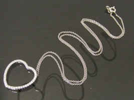 Vintage 14K Solid White Gold .63ct Genuine Heart Pendant & Chain Necklace  - $355.00