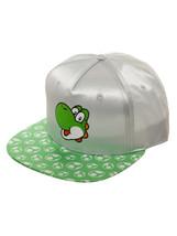 Super Mario Bros. 'Yoshi Face' Grey & Green Satin New Cap / Hat * Nintendo - $11.88