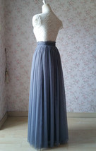 GRAY Wedding Bridesmaid Long Tulle Skirts High Waist Gray Full Tulle Skirt Plus  image 6