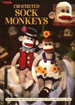 X354 Crochet PATTERN Book ONLY Sock Monkeys Blossom & Benny with Clothes - $13.50
