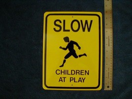 "Metal Mid Size Children Playing  Sign 9"" X 12"" - $8.91"