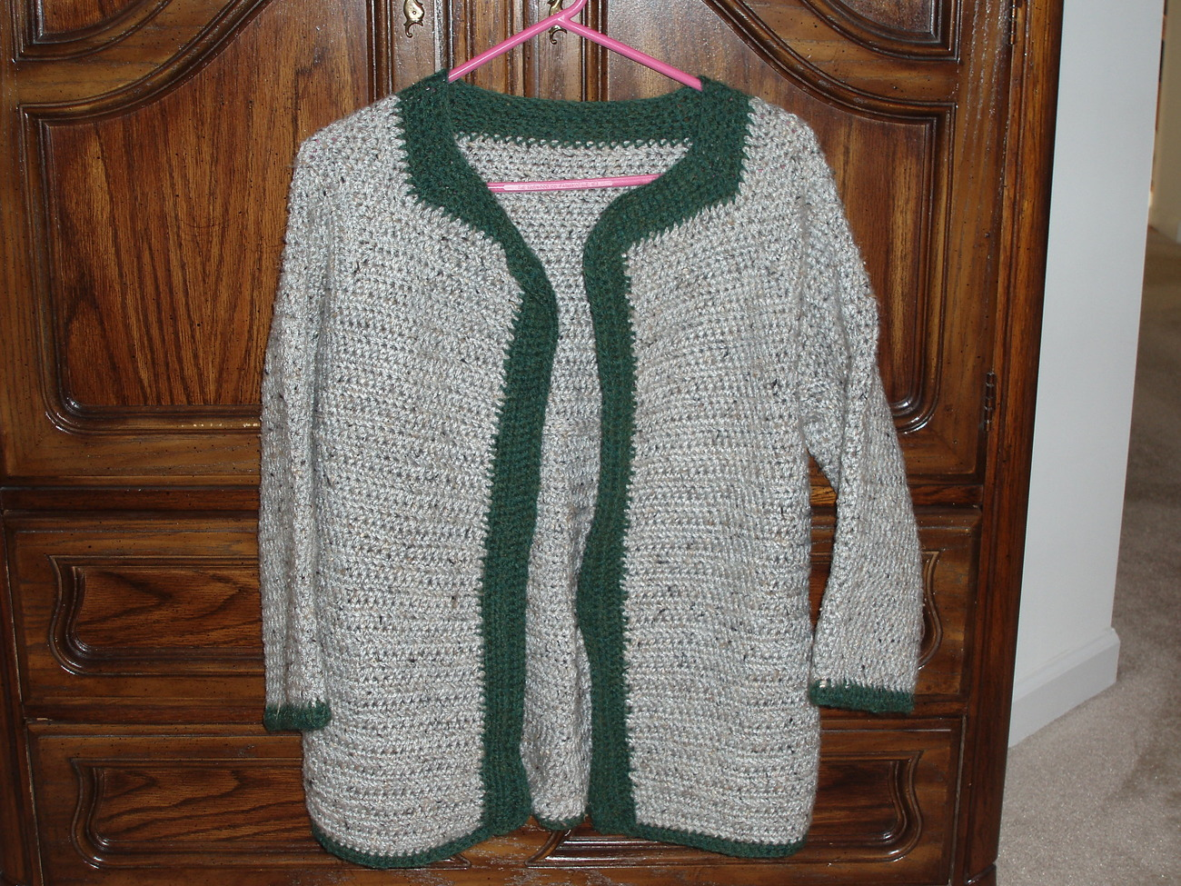 Gray wool sweater jacket with dark green trim