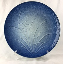 Vintage JGI Shaddy Arita Iris Flower Cobalt Blue Concave Decorative Plat... - $27.69