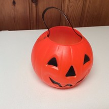"Vintage Plastic Orange Jack O Lantern Trick or Treat Pumpkin  7"" Tall - £7.59 GBP"