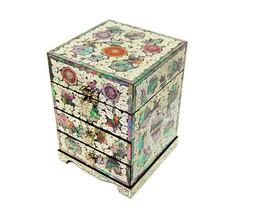 Pfingstrose Blumen Holz Schublade Schmuckstück Schmuck jewel Box #1889 - $247.74