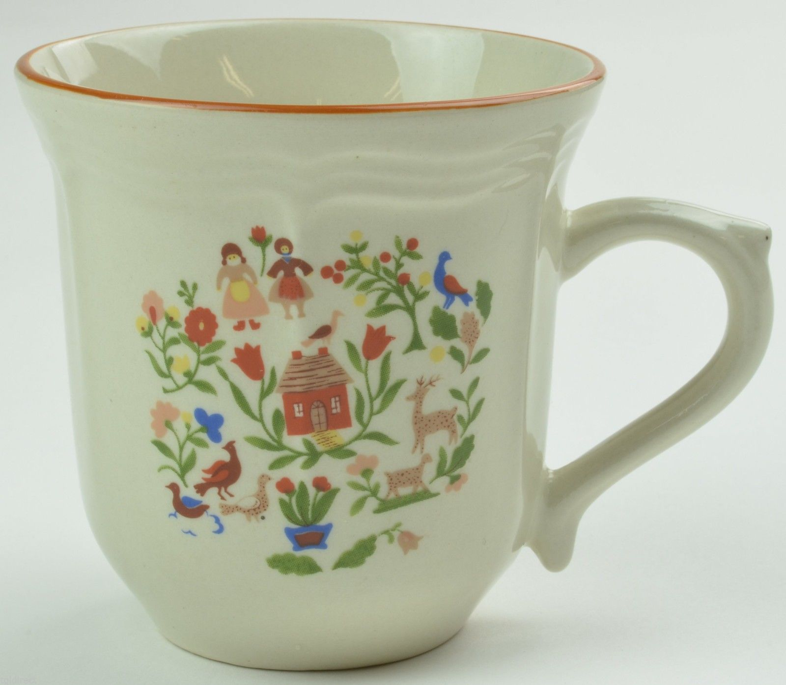 Gibson Designs Adamand Eve Flat Cup Teacup Tea Floral Flowers Stoneware China - $5.99