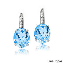 London Blue Topaz  Silver Dangle Earrings Gemstone with Swarovski Crysta... - $10.77