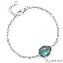 Sterling Silver Chain Link Bracelet with Freeform Faceted Hydro Quartz  - $92.99