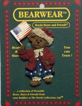"Boyds BearWear ""Eleanore Bearsvelt..God Bless America"" Resin Pin #26153 -New - $11.99"