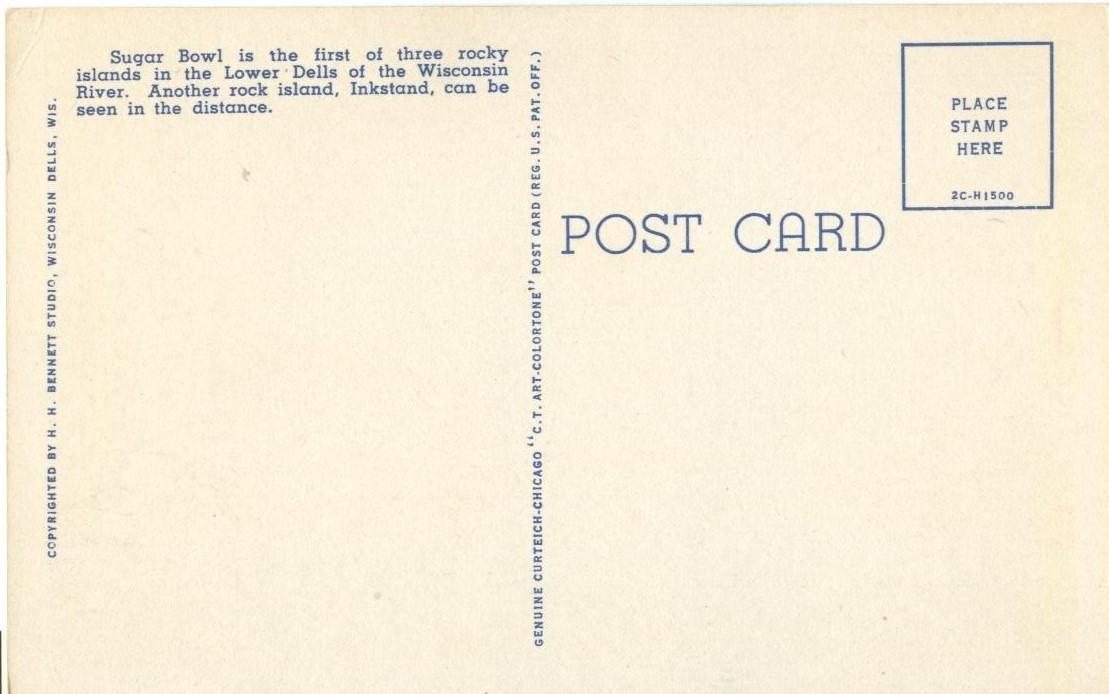 Sugar Bowl, Dells of the Wisconsin River, unused linen Postcard