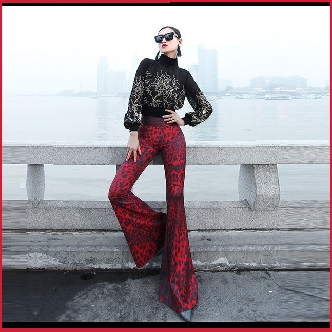 Retro 60s Flare Bell Bottom High Waist Red and Black Leopard Cotton Print Pants