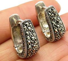 925 Sterling Silver - Vintage Marcasite Decor Hinged Hoop Earrings - E3847 - $33.56