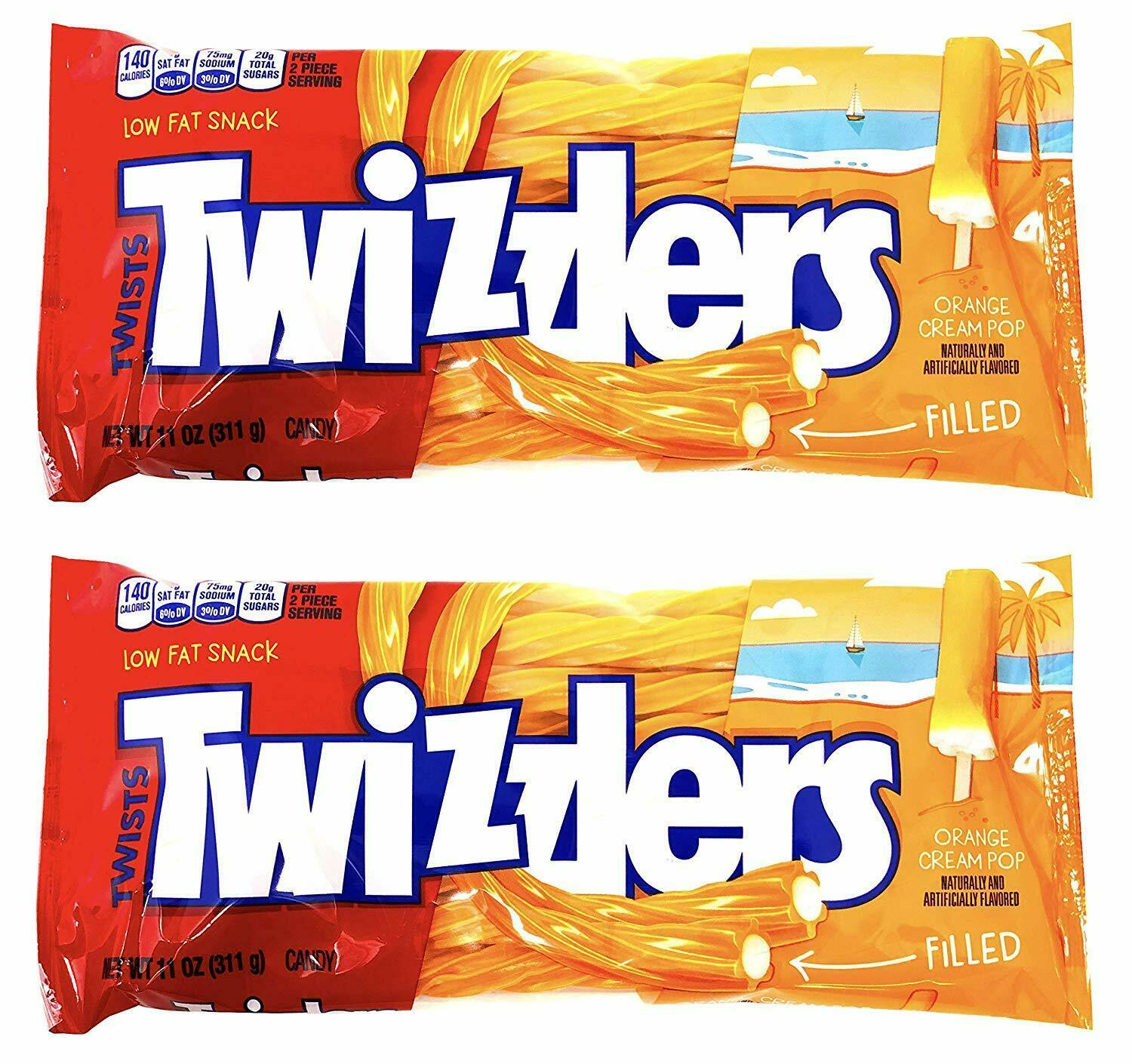 Primary image for Twizzlers Creamsicle Dreamsicle Popsicle Orange Cream Pop Filled Twists 2 PACK