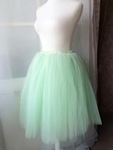 Mint Green Tulle Midi Skirt Ballerina Tulle Skirt Plus Size Knee Length image 6