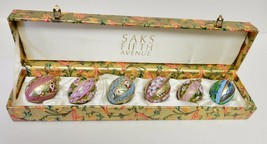 SAKS FIFTH AVENUE Christmas ORNAMENTS Hand Painted Hinged Box Set of 6 V... - $89.95