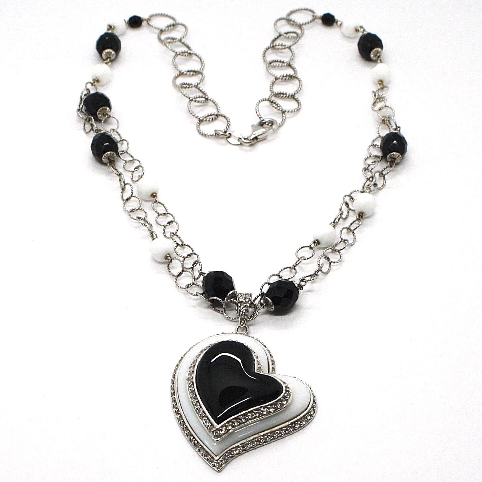 SILVER 925 NECKLACE, ONYX BLACK, AGATE WHITE, HEART PENDANT, CHAIN TWO FILE