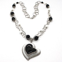 SILVER 925 NECKLACE, ONYX BLACK, AGATE WHITE, HEART PENDANT, CHAIN TWO FILE image 1