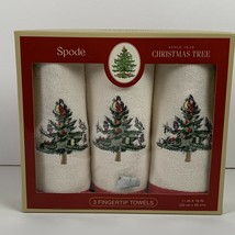 Spode Christmas Tree Hand Towels 3 Pack New NIB Fingertip Towels Ivory New  - $29.99