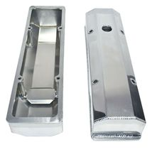 """Chevy Fabricated Aluminum Tall Valve Covers 1/4"""" Rail SBC 350 383 400 image 6"""
