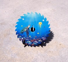 Sea Turtle hand painted saw blade original wall mount nautical decor art - £27.78 GBP