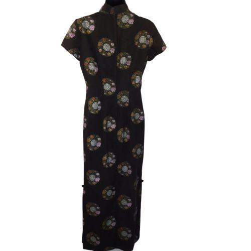 Alfred Shaheen Black Cheongsam Medallion Screen Print Pinup Dress Fitted Medium