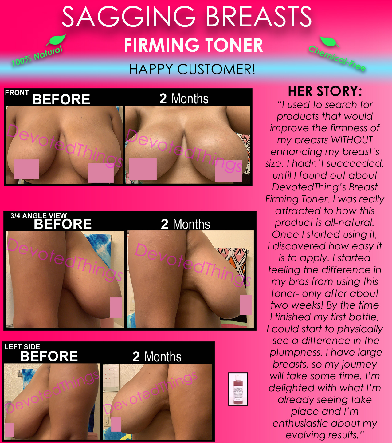 Chemical Free All Natural Breast Firming Toner Herbal Toning Lift for Sagging  - $38.99