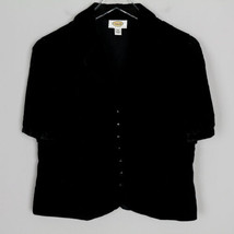 Talbots Velvet Top Black S/S Button Up Collared Rayon Silk Soft Career P... - $17.81