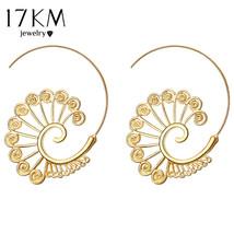 17KM® Brincos Swirl Hoop Earrings For Women 2 Color Geometric Steampunk Ethnic - $3.97