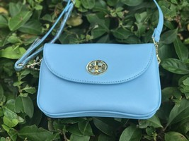 Tory Burch Robinson Cross Body Bag Morning Sky Light Blue Small Handbag - $168.29