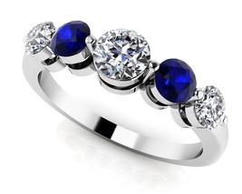 0.40 Ct Round Sapphire & Sim Diamond Anniversary Band Ring In 14K White ... - $115.99