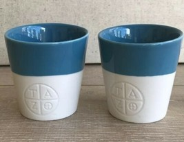 Set 2 Starbucks Tazo Tea Cup Urban Mug Blue 2012 Bone China Blue Cream S... - $24.74