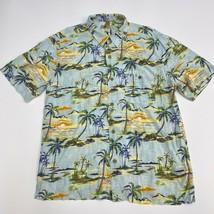 Joe Marlin Button Up Shirt Mens XXL Blue Palm Tree Hawaiian Short Sleeve... - $18.95