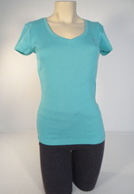 Tommy Hilfiger V Neck Turquoise Stretch Cotton Knit Tee T Shirt Women's NWT - $29.99