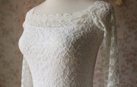 White Lace Dress Long Sleeve Stretchy Lace Sheath Dress Women Lace Party Dresses image 2