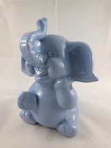 "Vintage Baby Blue Elephant  Porcelain Bank 6"" w new stopper excellent - $13.85"