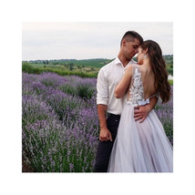 Lace ostrich feathers dress,floral lace wedding dress, couture wedding d... - $771.49