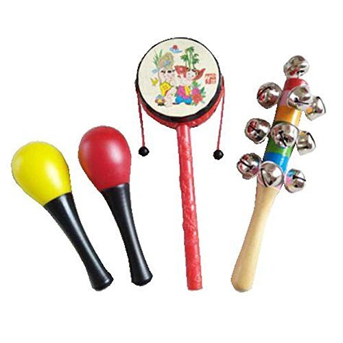 4 Pcs Sand Hammer Pastic Kids Wooden Rattles/Music Rattles Shaker for Newborn