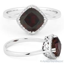 2.09 ct Cushion Cut Garnet Gem & Diamond Halo Engagement Ring in 14k Whi... - £306.16 GBP