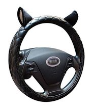 Leather Anti-Skid Handlebar Set Winter Fashion Car Steering Wheel Sets Cute Ears