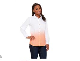 Isaac Mizrahi Dip Dye Button Front Woven Shirt A265349 Coral Carnation L... - $24.13
