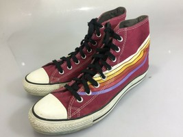 Converse HIgh Tops Gym Shoes Raspberry Red w Yellow Blue Stripes 10 Mens - $48.02