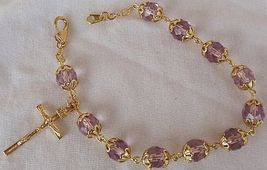 Purple golden rosray bracelet 2 thumb200