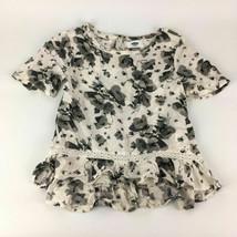 Girls Old Navy XS (5) Gray Floral Viscose Top Hi Lo Crochet Tunic Shirt Boho 5T - $6.92